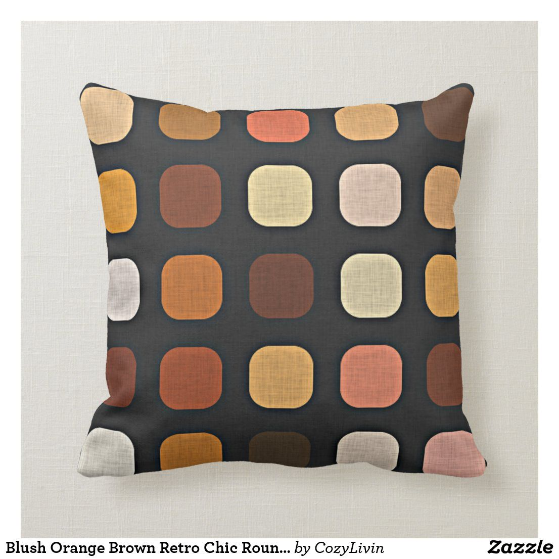 Blush Orange Brown Retro Chic Round Square Pattern Throw Pillow Zazzle Com Patterned Outdoor Pillows Patterned Throw Pillows Coral Throw Pillows