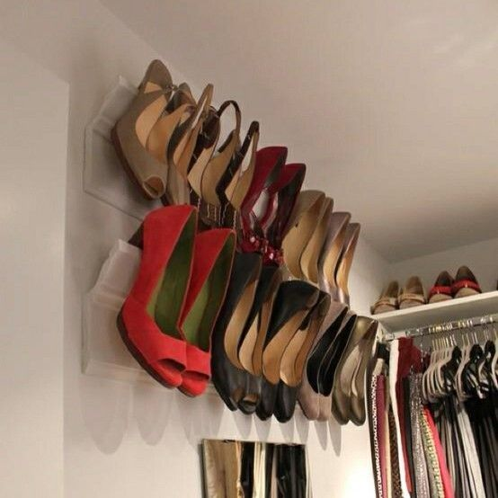 Bedroom Closet Organization Ideas Shoe rack Moldings and Crown