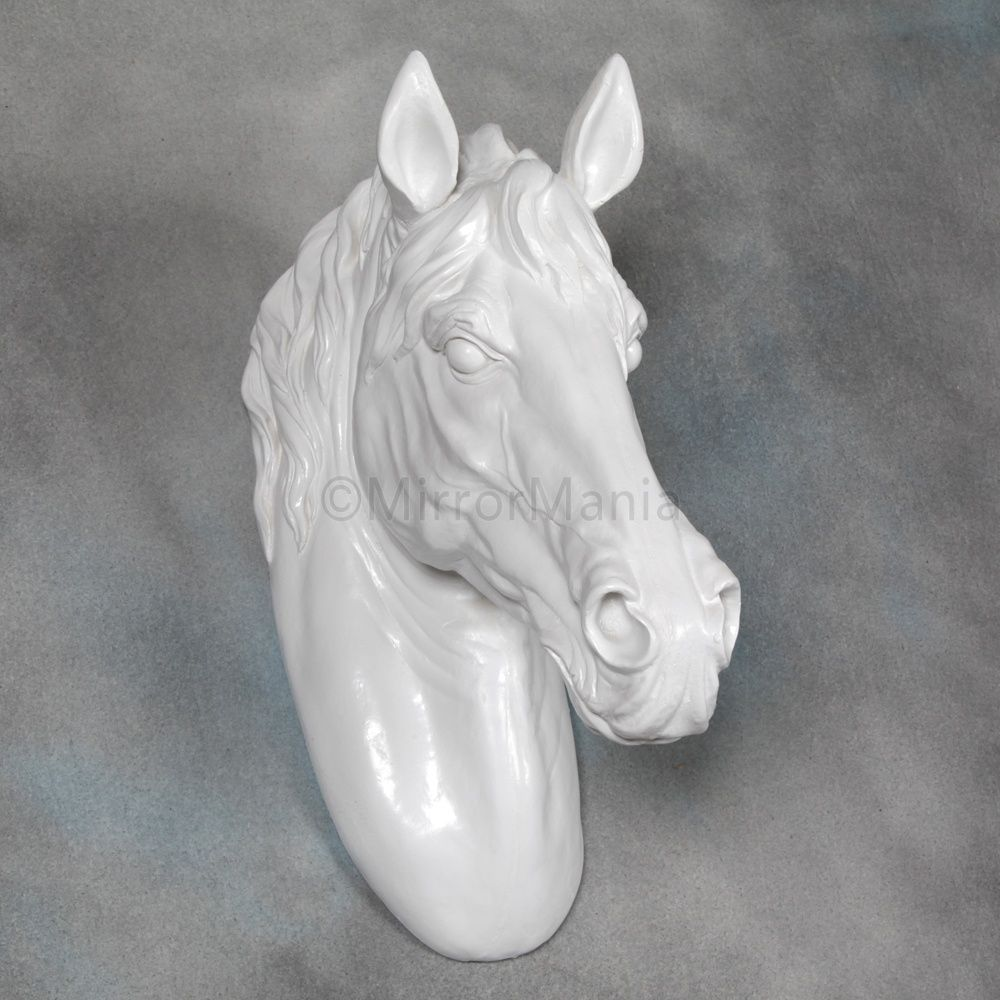 Large Bright White Horse Head Wall Mount Unusual Accessories Home Decor