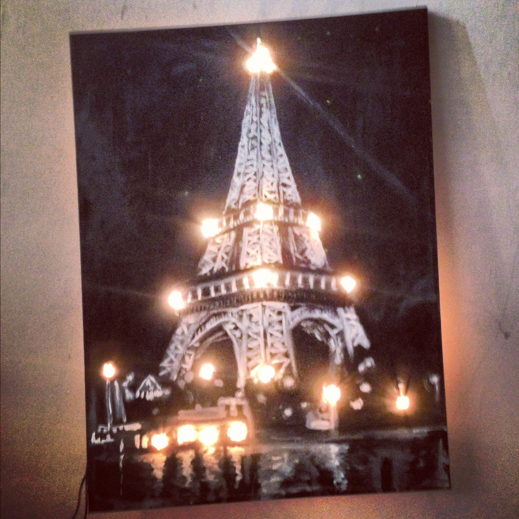 Perfect My Black U0026 White Eiffel Tower Canvas Painting Illuminated With Fairy  Lights! #wall Light
