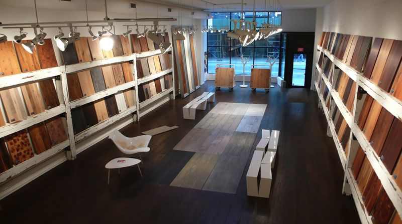 Lv wood floors locations nyc flagship showroom design for Showroom flooring ideas