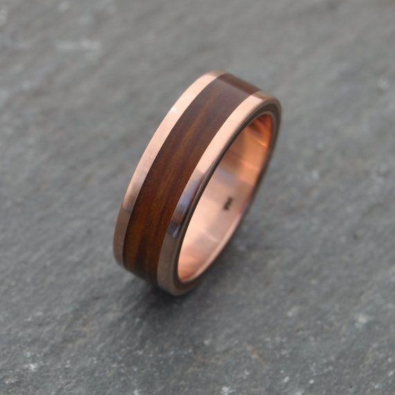 Rose Gold Wood Ring Lados Guayacán - ecofriendly wood wedding band ...