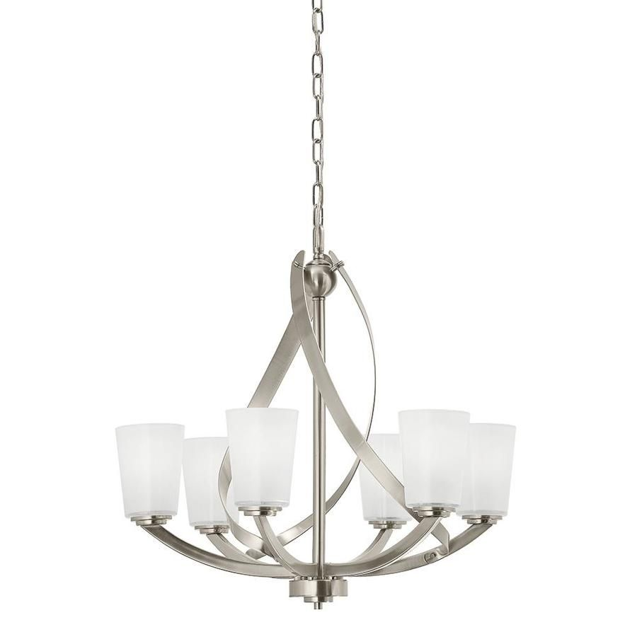 Brushed Nickel Dining Room Light Fixtures Kichler Layla 2421In 6Light Brushed Nickel Etched Glass Shaded