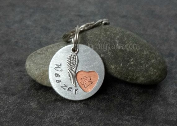 Personalized Pet Memorial Keychain Paw Print by UnrulyTails