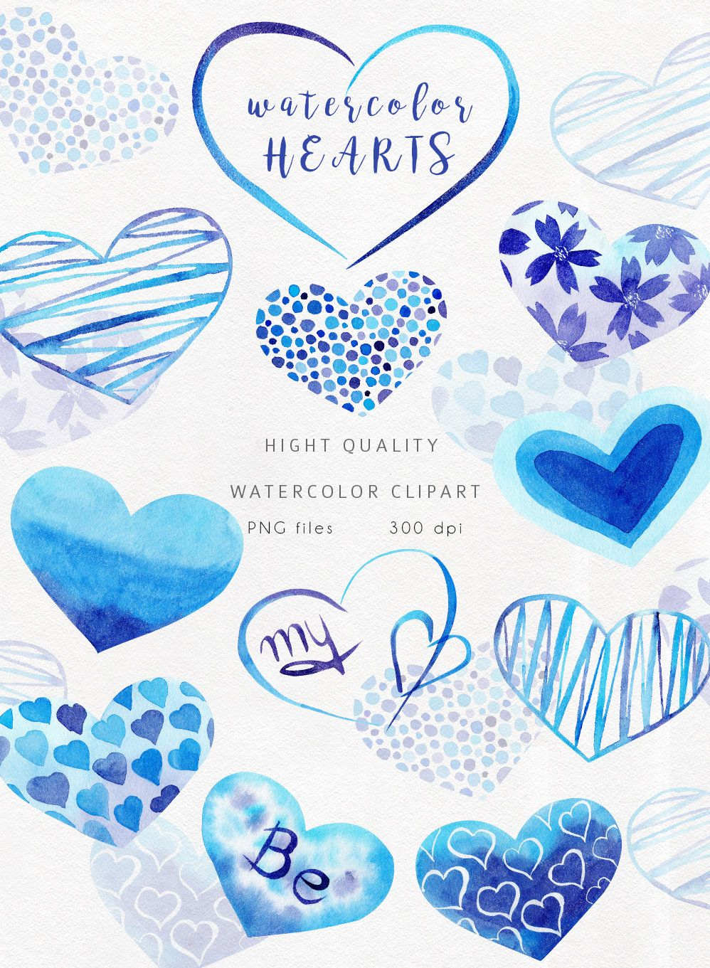 watercolor blue heart clipart 11 hand painted separate png elements valentine s hearts  [ 998 x 1361 Pixel ]