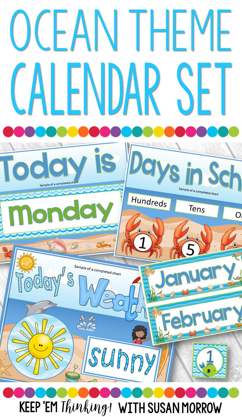 Classroom Calendar Set Ocean Theme Classroom Decor Pre School