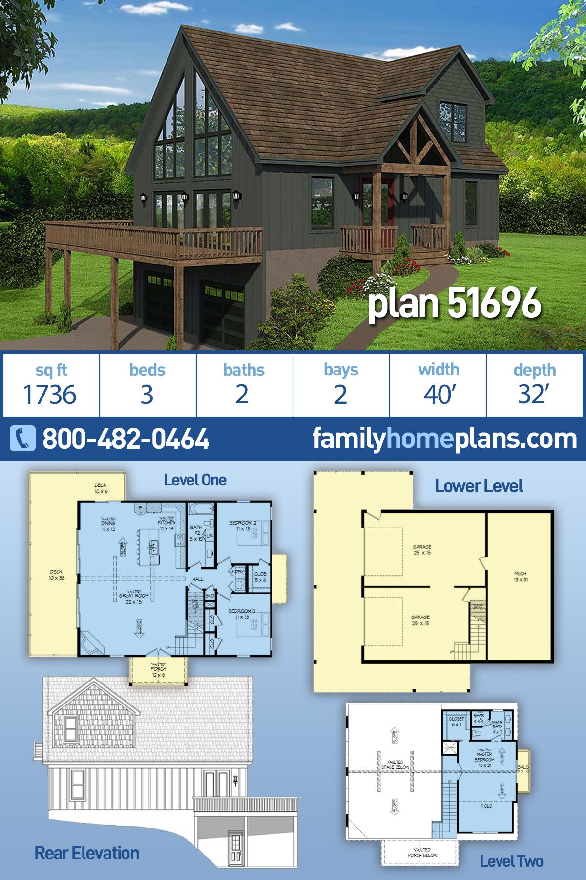Contemporary Country Craftsman House Plan 51696 With 3 Beds 2 Baths 2 Car Garage Craftsman Style House Plans House Plans Bungalow House Plans