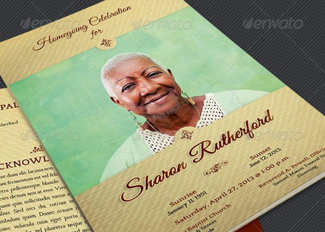 Home Going Funeral Program Template is for commemorative or home - funeral flyer template