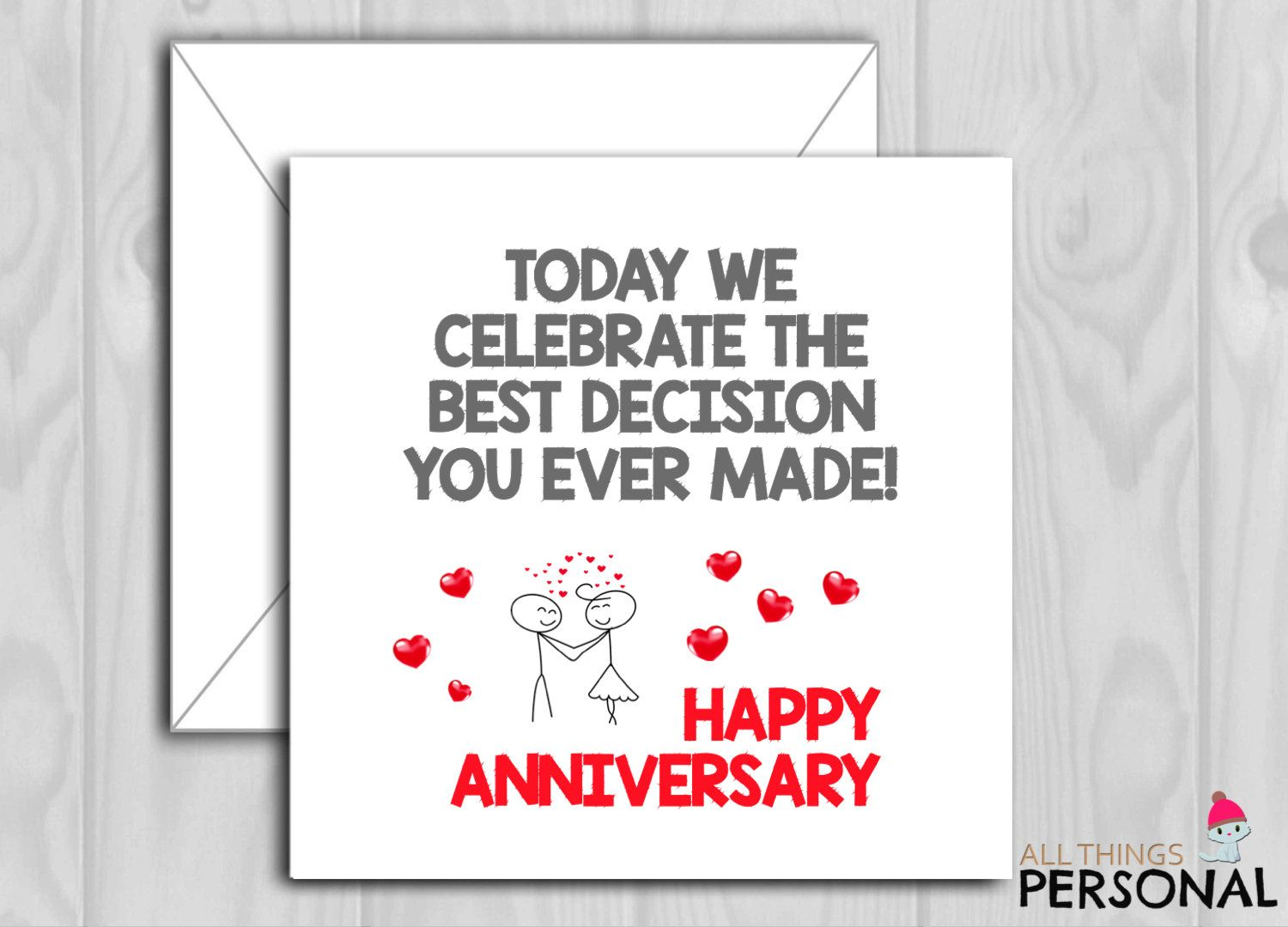 Funny Anniversary Card For Husband Or Wife On Wedding Anniversary