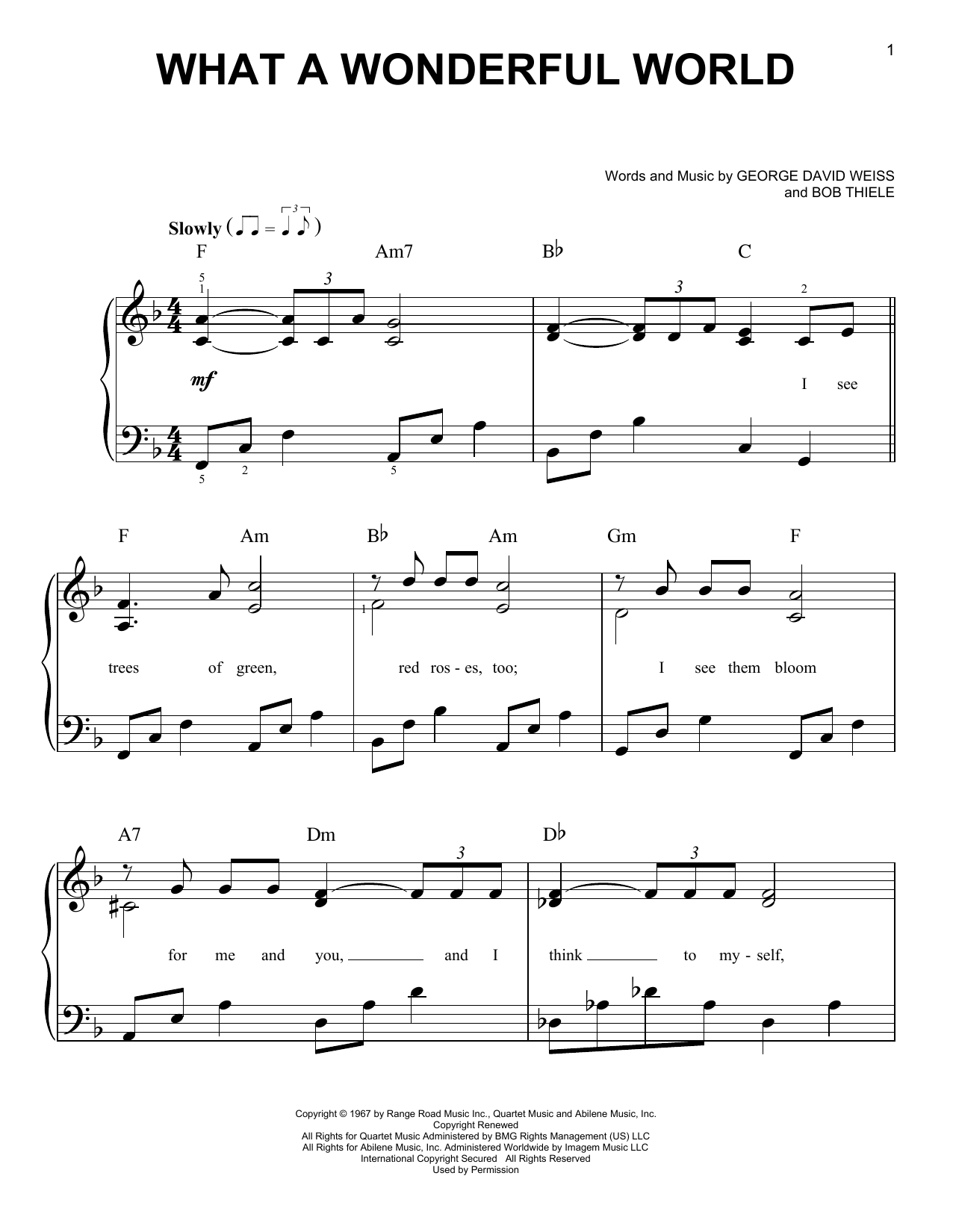 Louis Armstrong Weihnachtslieder.What A Wonderful World By Louis Armstrong Easy Piano Digital Sheet