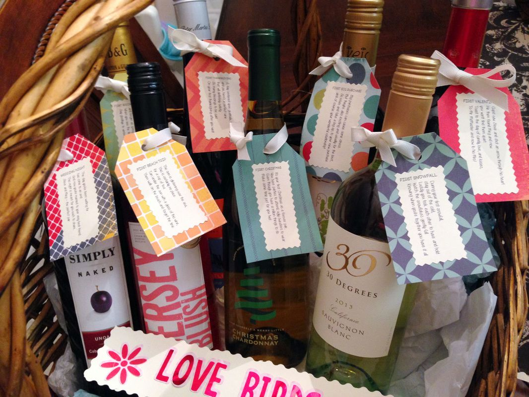 How To Make Wedding Gift Basket : easily make a wedding wine basket wine tags wine labels wine baskets ...