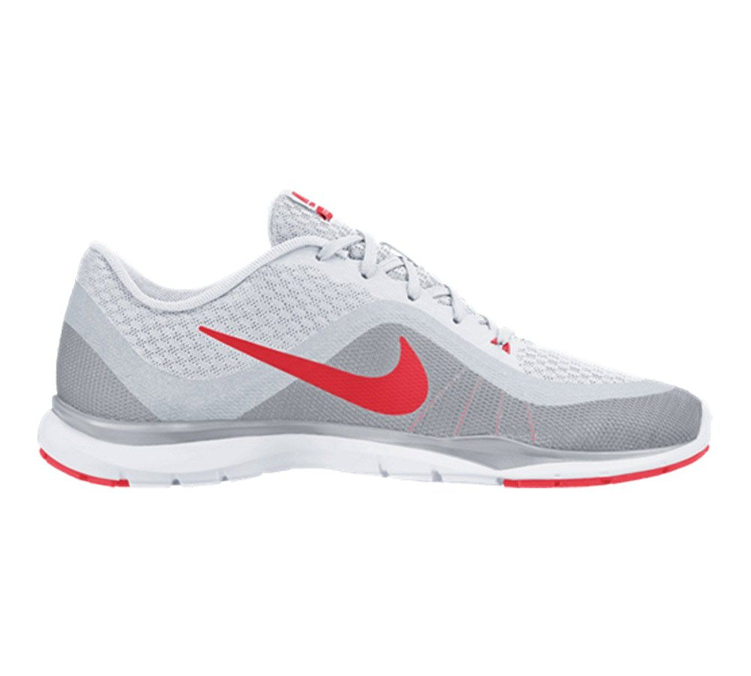 5817598151b95 Nike Flex Trainer 6 White Pure Platinum Wolf Grey Bright Crimson Womens  Cross Training Shoes