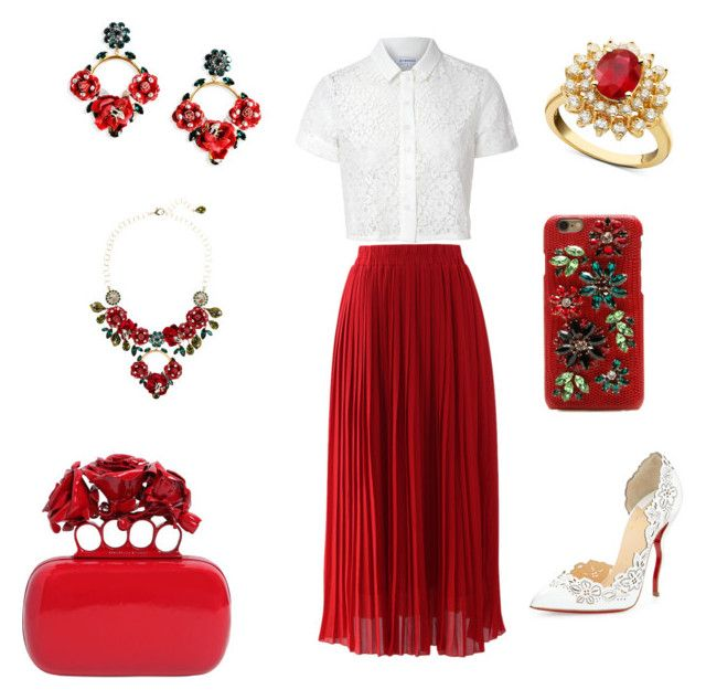 """""""Fire rose"""" by miaswagg1515 ❤ liked on Polyvore featuring Chicwish, Dolce&Gabbana, R.H. Macy's & Co., Glamorous, Christian Louboutin and Alexander McQueen"""