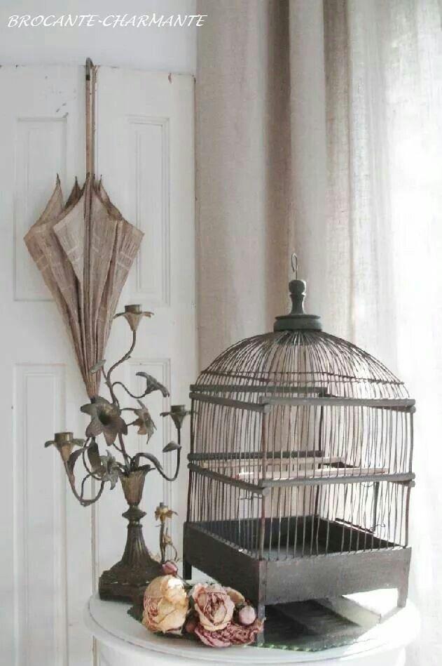 Bird cage , umbrella ,candelabra .