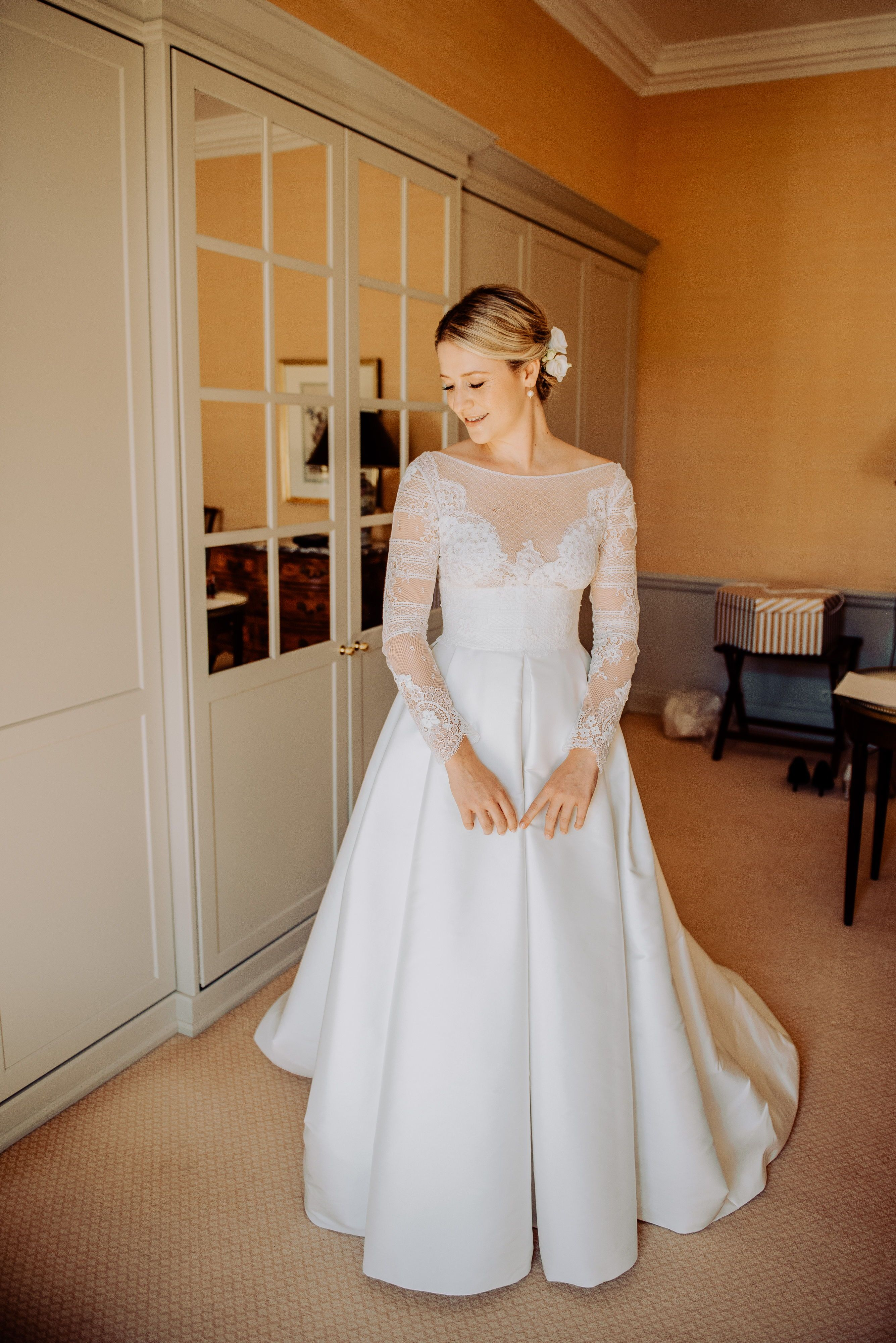 e8d784af5 Victoria in Jesus Peiro 8004 lace wedding dress with pockets from Miss Bush  luxury bridal boutique in Surrey for a classic, elegant wedding in Germany.