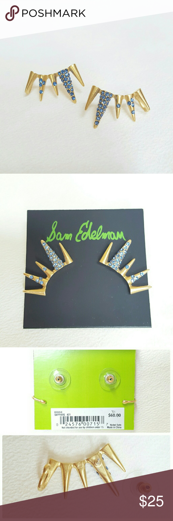 Sam Edelman Pave Spike Earrings Scattered crystals brighten a pair of bold, spiked ear cuffs perfect for making a memorable impression. Post and cuff back. Color: Sapphire (gold tone with blue crystals). Last picture model reference. NWT! PRICE FIRM. SOLD OUT! 🚫 NO TRADE/HOLD POSH TRANSACTION ONLY! Sam Edelman Jewelry Earrings