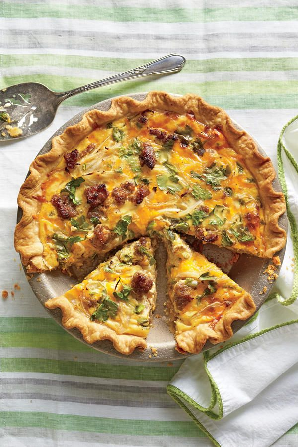 Cheese-and-Sausage Quiche - 68 Ways with Farm-Fresh Eggs - Southernliving. Recipe: Cheese-and-Sausage Quiche  Adapted fromNorth Carolina community cookbookCarolina Cooking, this is great for breakfast, lunch, or dinner. It also reheats beautifully, so bake an extra and take it to a friend.