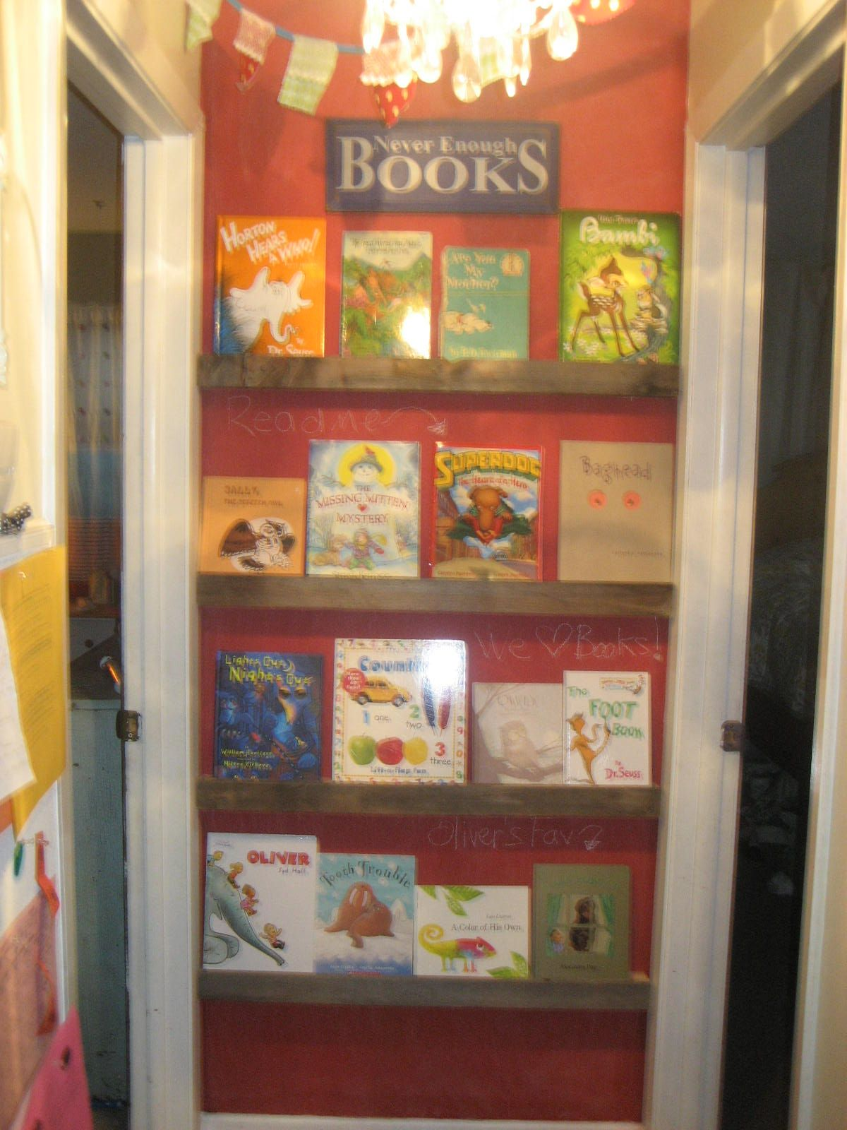 End of hallway ideas  Little library or picture display at end of the hall  Kids