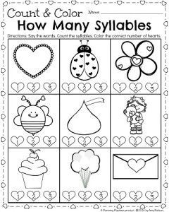 Kindergarten Math and Literacy Worksheets for February   Syllable ...