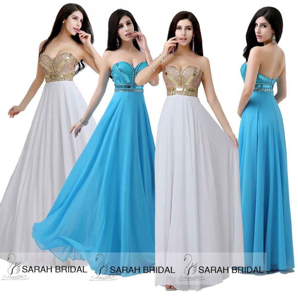 Maxi Long Beaded Chiffon Women Evening Formal Party Dresses Prom ...