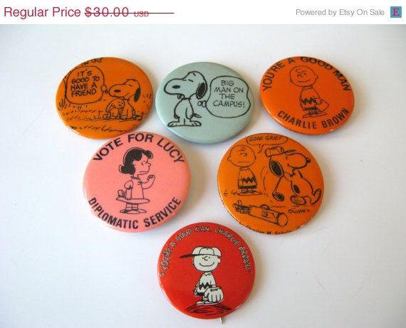 SALE Lot of 6 Vintage Charlie Brown Pins, Peanuts, Snoopy