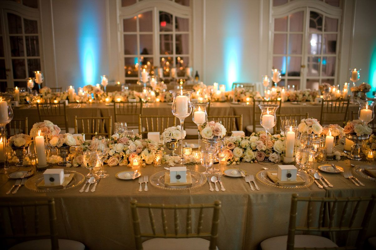 Lovely Stunning Image Of Wedding Table Decoration With White And Gold Table  Centerpiece : Beautiful Picture Of .