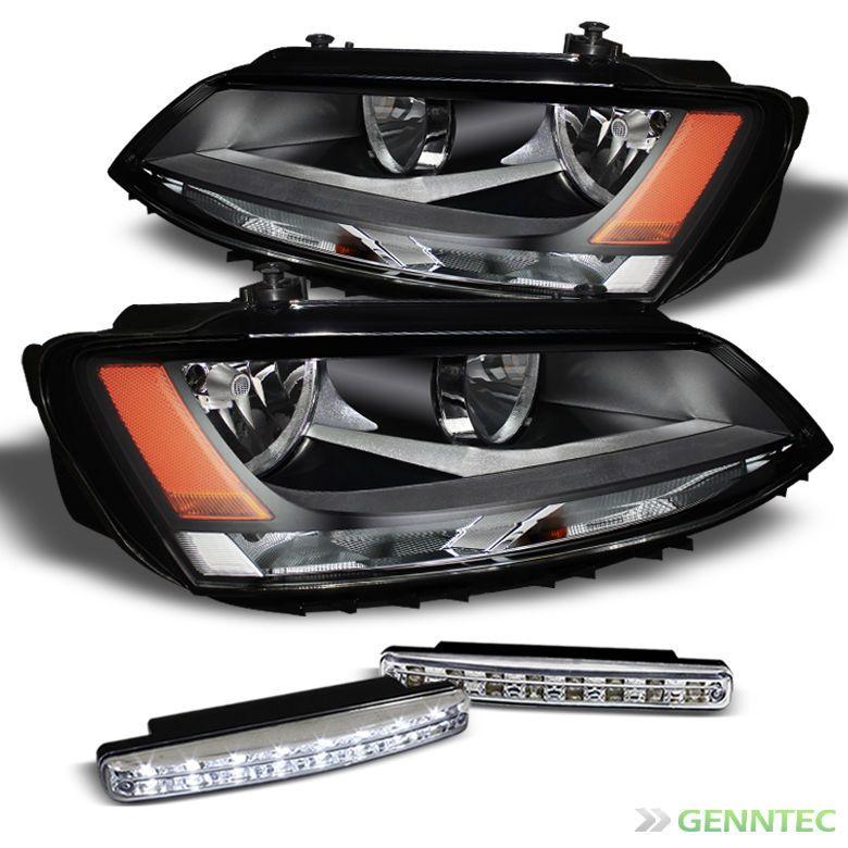 For 11 14 Vw Jetta Black Headlights Daytime Running Lights