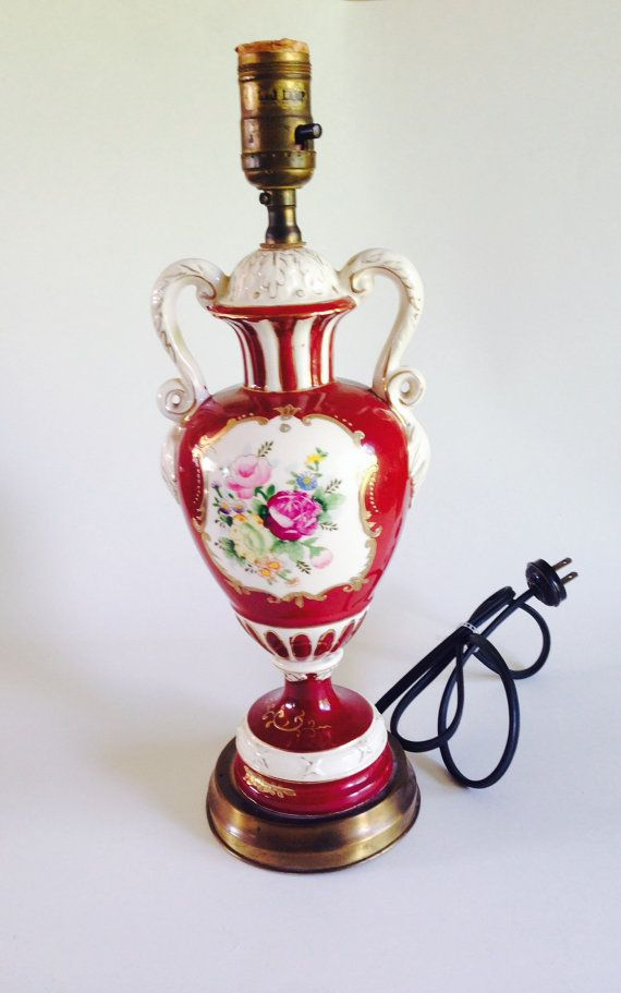 Beautiful Vintage Hand Painted 1940s Porcelain Urn Lamp In Red White And Gold Trim And Floral Design Shab Vintage Lamps Star Lights On Ceiling Antique Lamps
