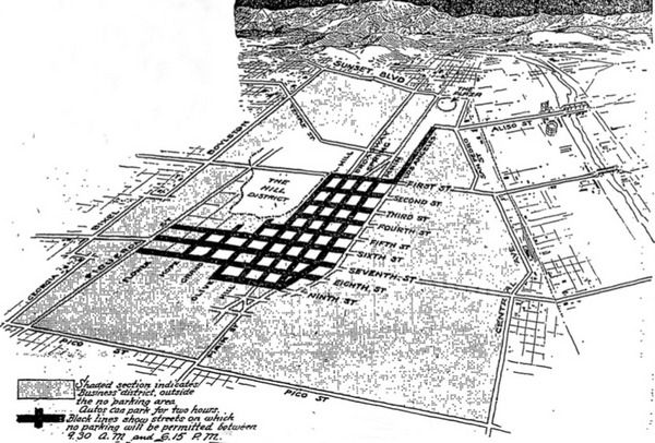 In 1920, the Los Angeles City Council imposed new restrictions on parking downtown. At the same time, it delineated a legal 'business district' shown as the shaded area in the above drawing from the Los Angeles Times.