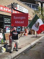 Sponge station in the predominately Hispanic Pilsen neighborhood in the 2010 Chicago Marathon.
