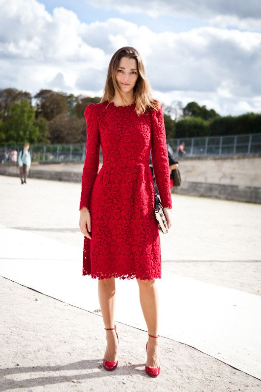 Monochromatic Look With Red Lace Dress And Ankle Strap Shoes