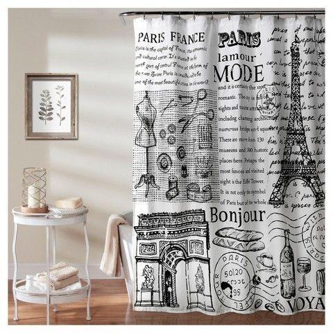 Lush Decor Paris France Shower Curtain 70x72 Black White