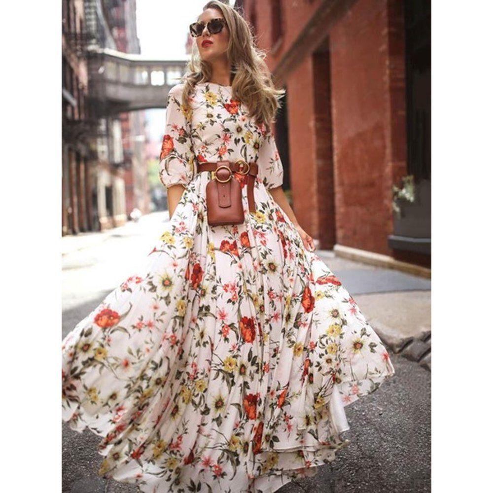 Lovaru Women Floral Print High Waist Boho Chiffon Maxi Dress Walmart Com Walmart Com In 2021 Maxi Dress Long Sleeve Chiffon Dress Bohemian Dress [ 1000 x 1000 Pixel ]