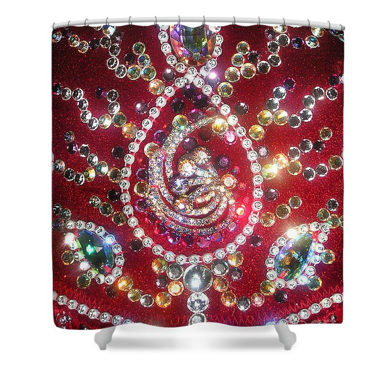 Rhinestone Mosaic On Red Shower Curtain For Sale By Sofia Metal