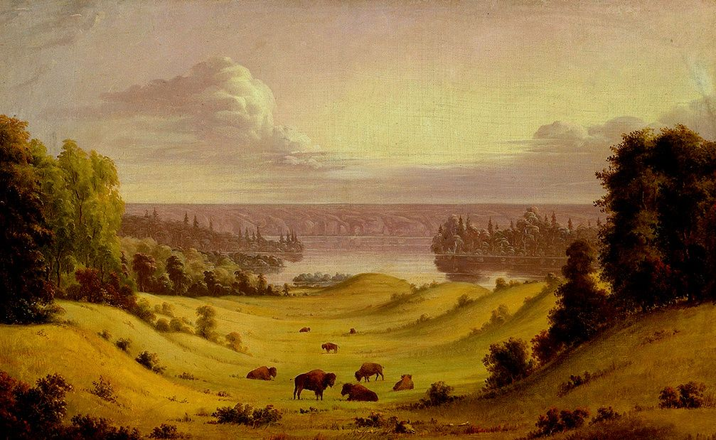 Estate Indiana nel Saskatchewan. Paesaggio idilliaco presso il North Saskatchewan River.