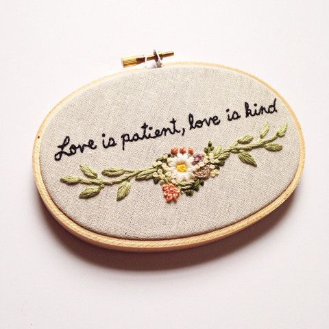 Scripture with Florals . Hand Embroidery
