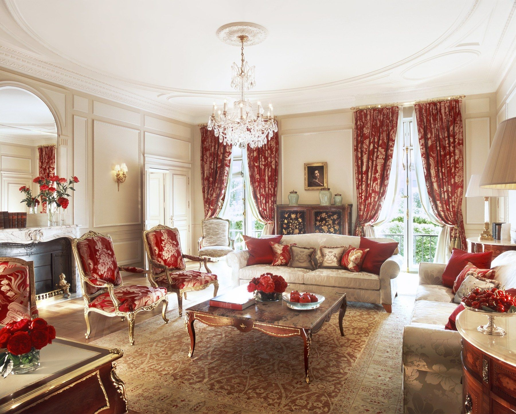 How 24 French Hotels Earned A Rating Even More Luxurious Than Five Stars Pretty Living Room Luxury Hotel Room European Home Decor Red luxury room pictures