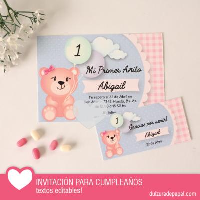 Osita Nena Invitacion Para Imprimir Invitaciones Para