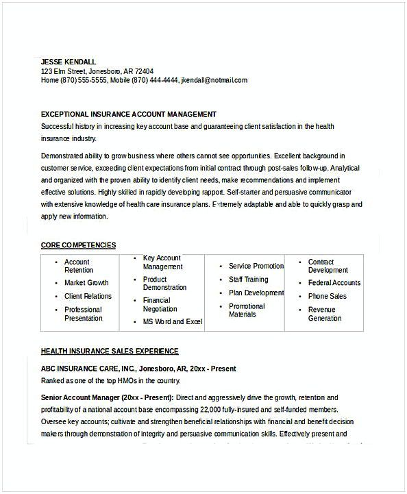 Insurance Account Manager Resume , Resume for Manager Position