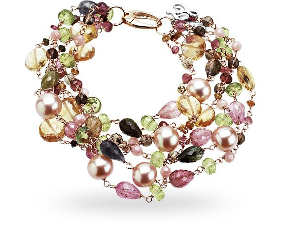 Bracelet ZGBR0295RRMSL: 18 kt. red gold bracelet with 116.00 ct. of semi-precious mix :: Zoccai Jewelry