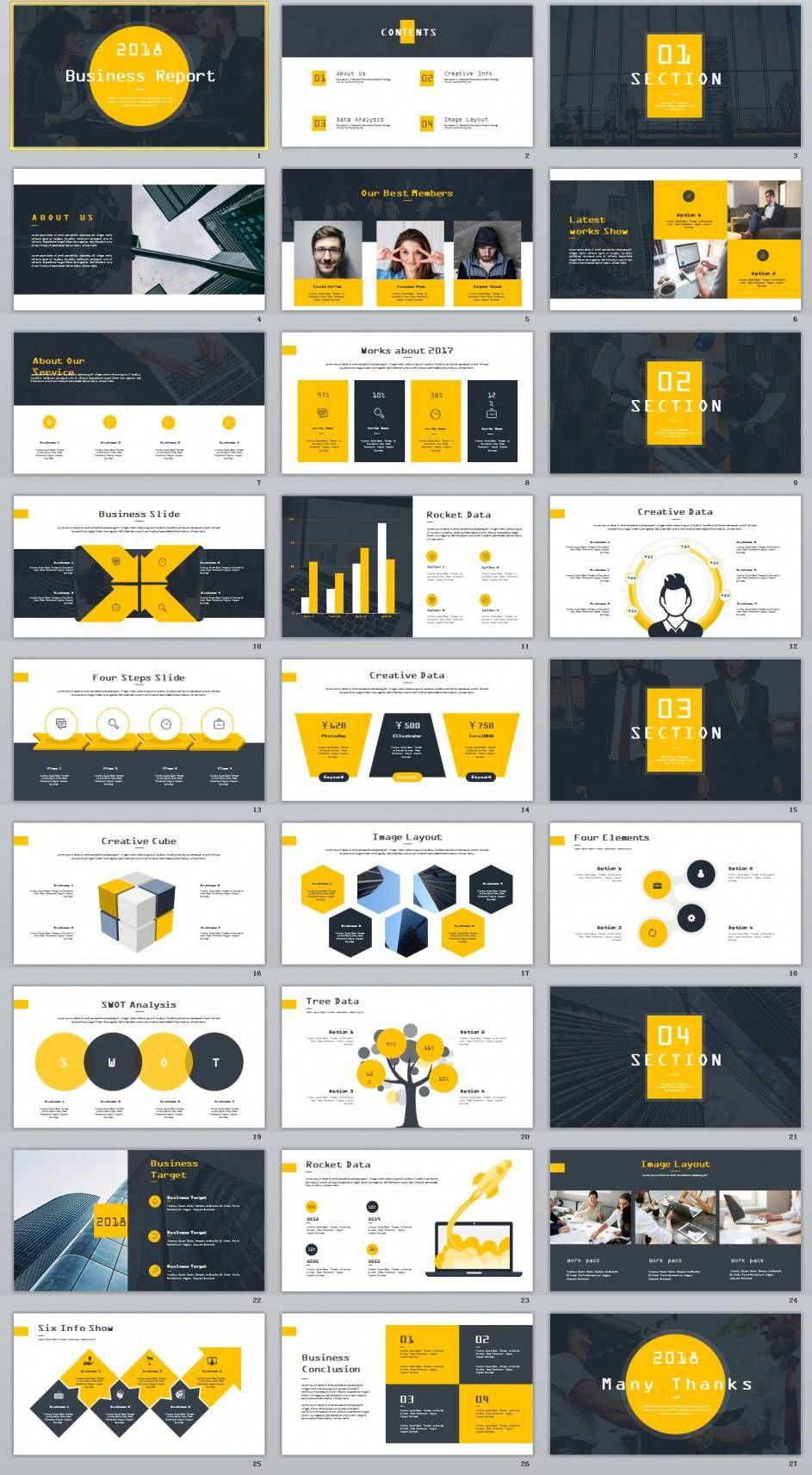 27 Yellow Business Year Plan Powerpoint Template
