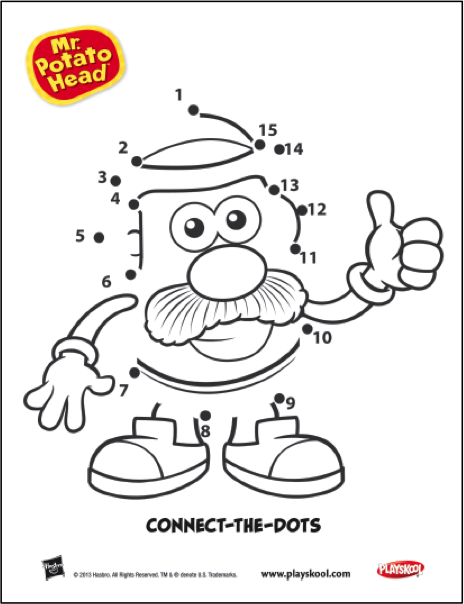 help connect the dots to reveal your favorite tater  playskool  mr  potato head  activity  kids
