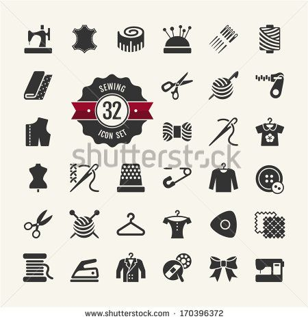 Vector sewing equipment and needlework icons set - stock vector