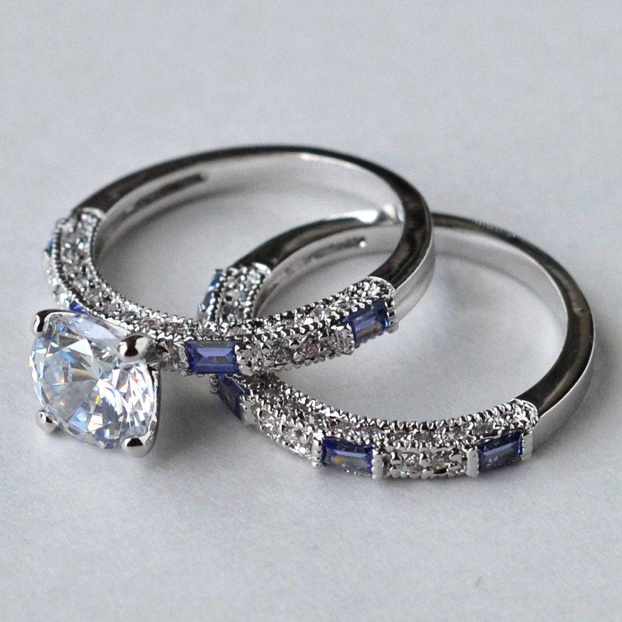 Cz Ring Wedding Engagement Set Tanzanite