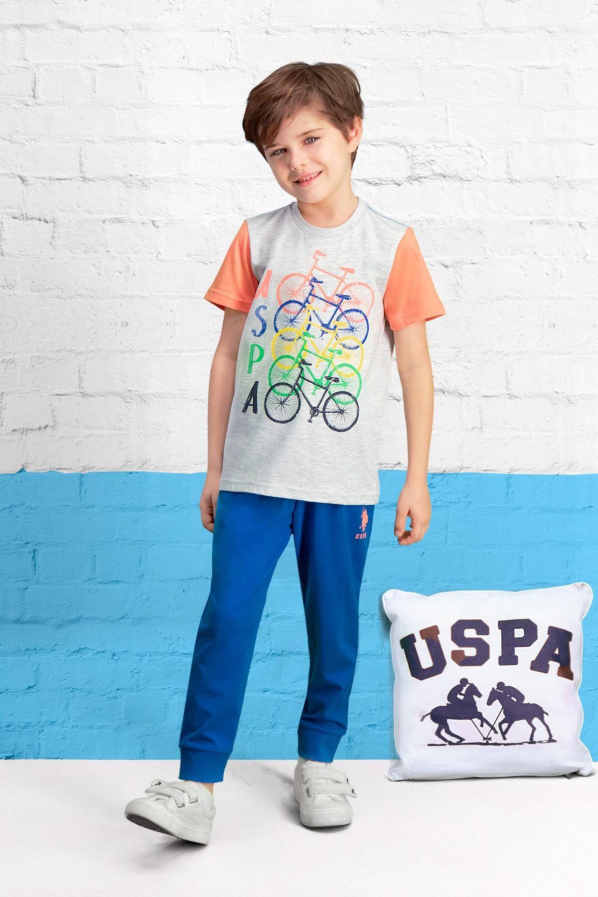 U S Polo Assn Lisansli Acik Gri Erkek Cocuk Pijama Takimi Pijama Polo Gri