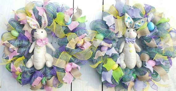 Double Door Wreath, Bunny Wreath, Male Bunny, Female Bunny, Easter Wreath, Spring Wreath, Easter Decor, Door Wreath, Spring Decor, Wreaths #doubledoorwreaths Wreaths measure approx. 23 in. **This is a double door set; wreaths will be shipped in separate boxes** All crafted wreaths are made with top quality materials, handpicked and strategically blended together to make each piece a beautifully, custom, one-of-a-kind piece. Our goal is to brighten up your space and give your guest something to m #doubledoorwreaths