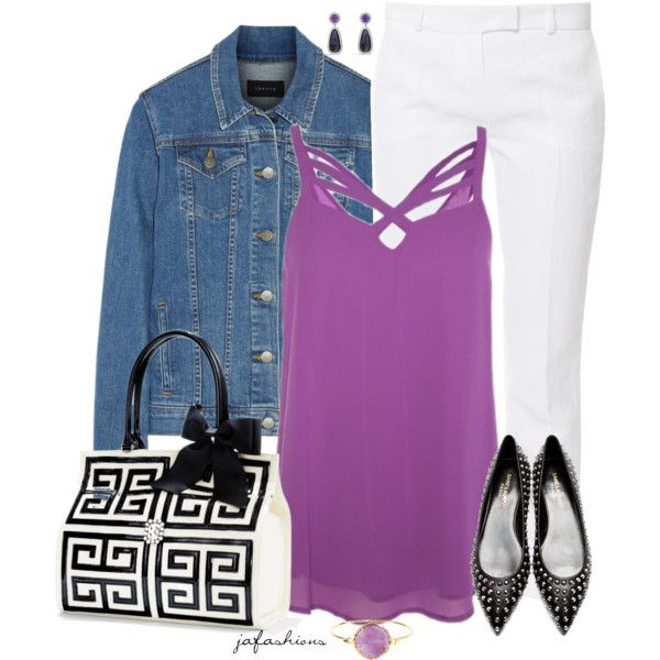Orchid Top + White Pants, created by jafashions on Polyvore
