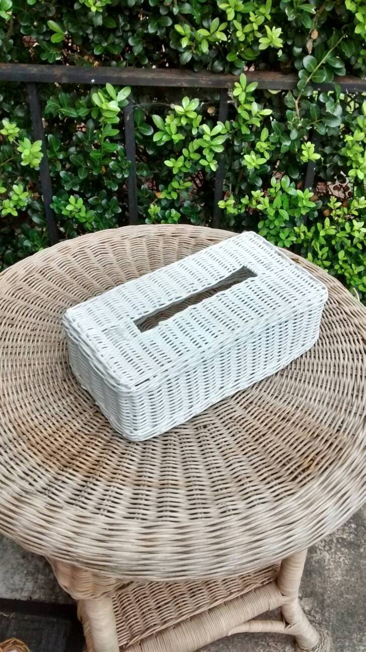 White Wicker Tissue Box Cover Vintage Bathroom Decor Boho Home By Hyvintagestudio On Etsy