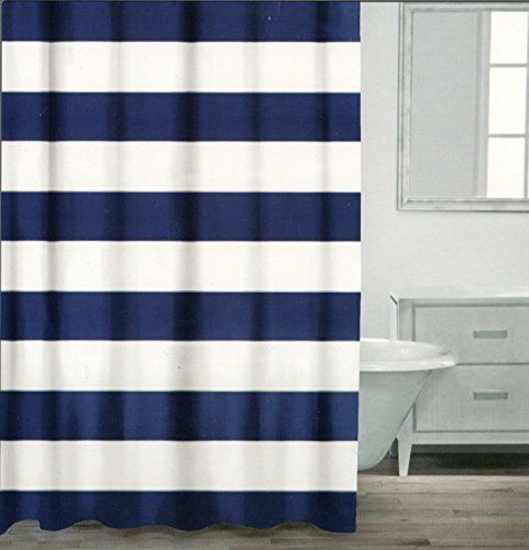 Caro Home 100 Cotton Shower Curtain Wide Stripes Fabric Shower