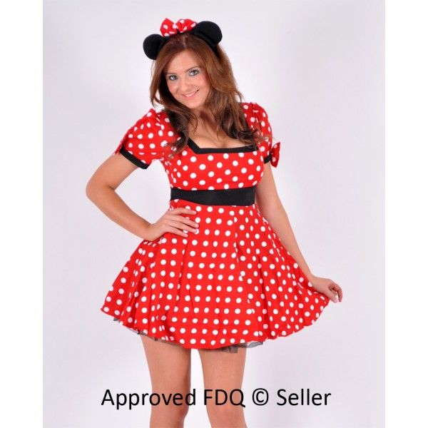 a beautiful flared minnie mouse costume with a black band around
